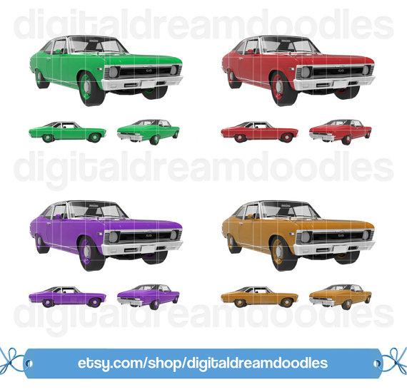Car Clipart Classic Car Clip Art Nova by DigitalDreamDoodles.
