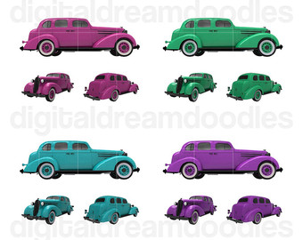 Car Clipart Classic Car Clip Art Nova by DigitalDreamDoodles.