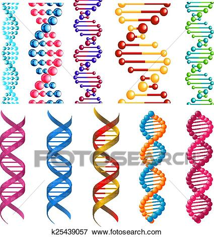 Colorful DNA molecules and cells Clip Art.