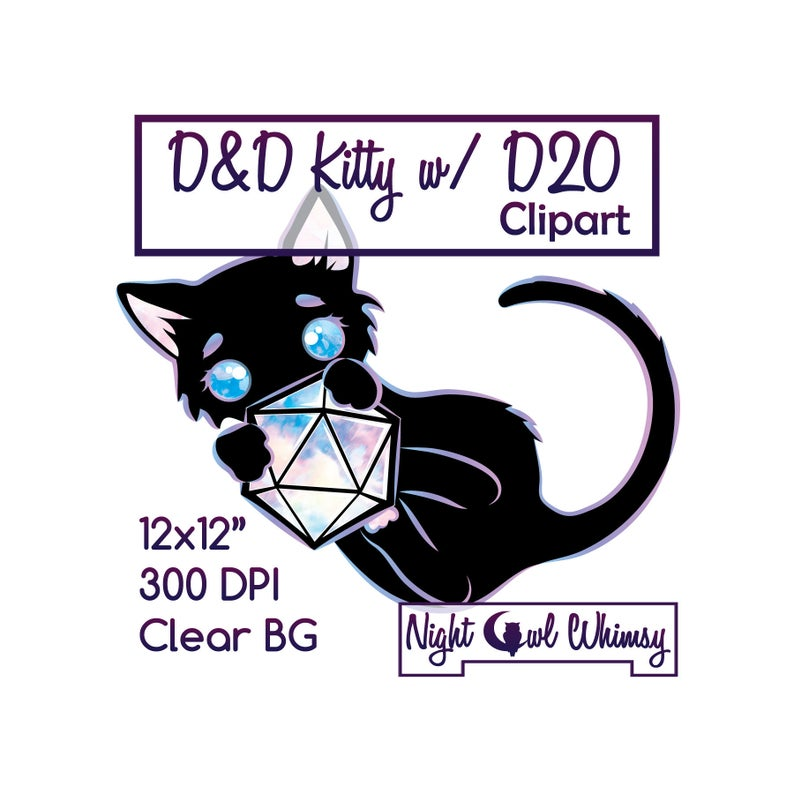 D&D Kawaii Black Kitty Clipart, Cute Black Cat With D20 Dungeon and Dragons  Dice, 12
