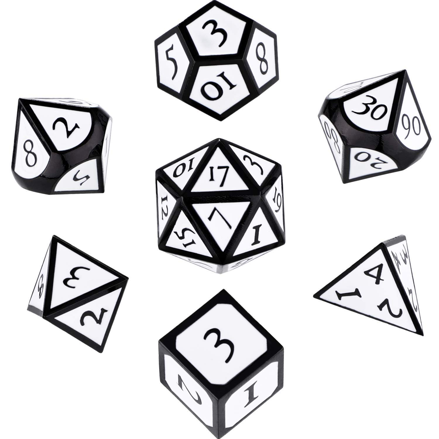 Hestya 7 Pieces Metal Dices Set DND Game Polyhedral Solid Metal D&D Dice  Set with Storage Bag and Zinc Alloy with Enamel for Role Playing Game.