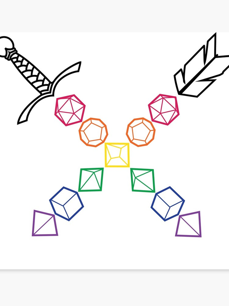 D&D Dice Sword Arrow Rainbow.