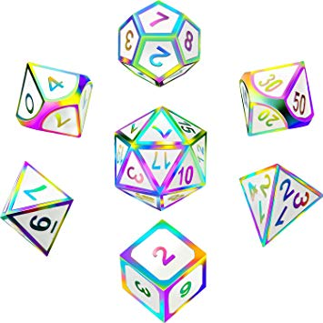 7 Pieces Metal Dices Set DND Game Polyhedral Solid Metal D&D Dice Set with  Storage Bag and Zinc Alloy with Enamel for Role Playing Game Dungeons and.
