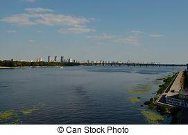 Pictures of Kiev cityscape and Dnieper river, Ukraine csp14730183.