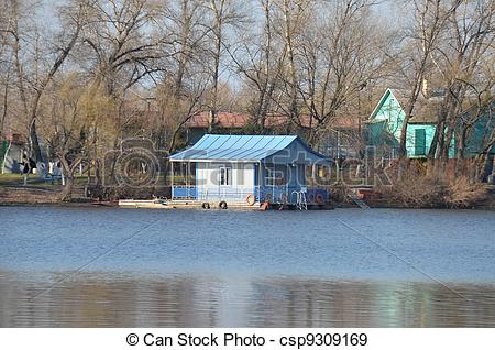 Stock Photographs of Small river quay on Dnieper river, Kiev.