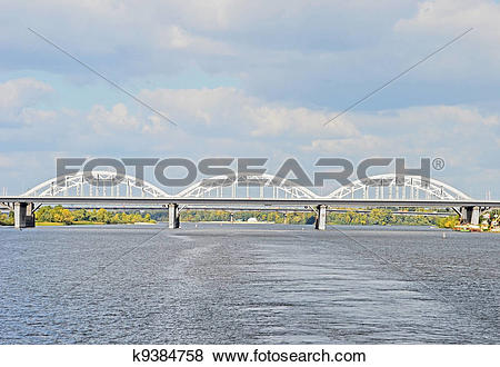 Pictures of Railway bridge across Dnieper river, Kiev, Ukraine.