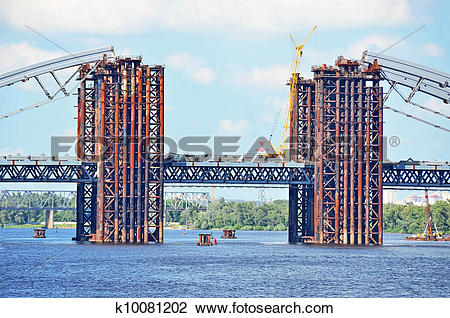 Stock Photo of Bridge construction site across Dnieper river, Kiev.