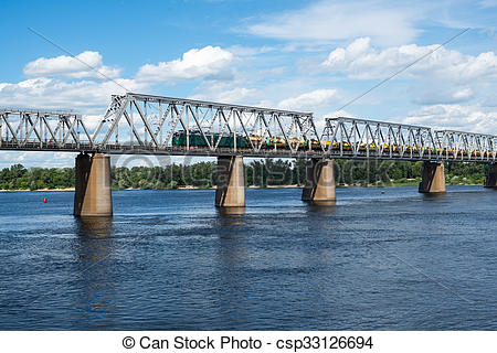 Stock Photographs of Railroad bridge in Kyiv across the Dnieper.