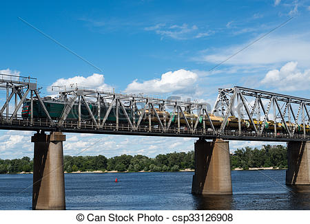 Stock Photography of Railroad bridge in Kyiv across the Dnieper.
