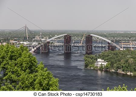 Pictures of Kiev cityscape and Dnieper river, Ukraine csp14730183.