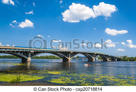 Stock Photography of View of Metro Bridge over Dnieper in Kyiv.