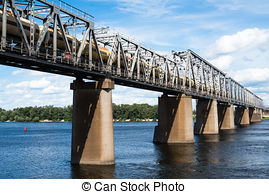 Pictures of Railway bridge across Dnieper river, Kiev, Ukraine.