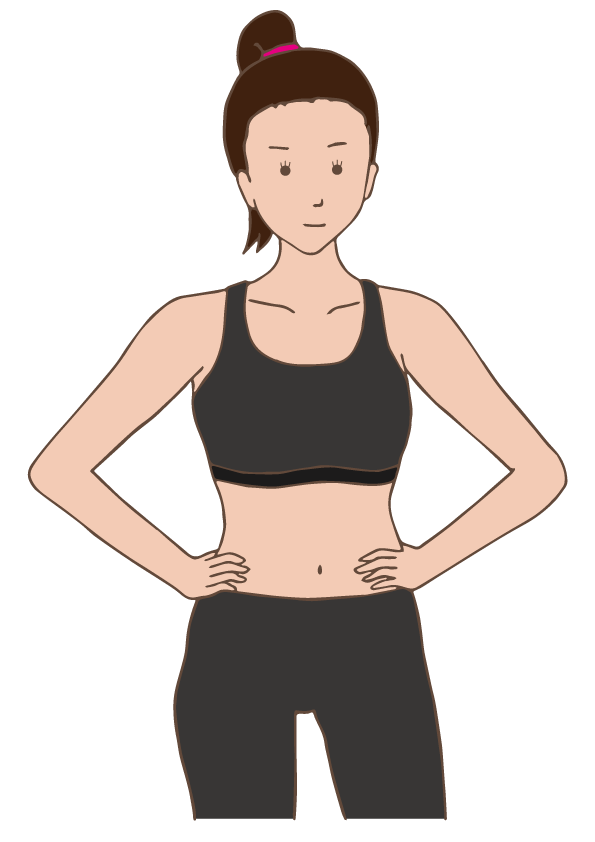 A woman ready to do physical exercise.