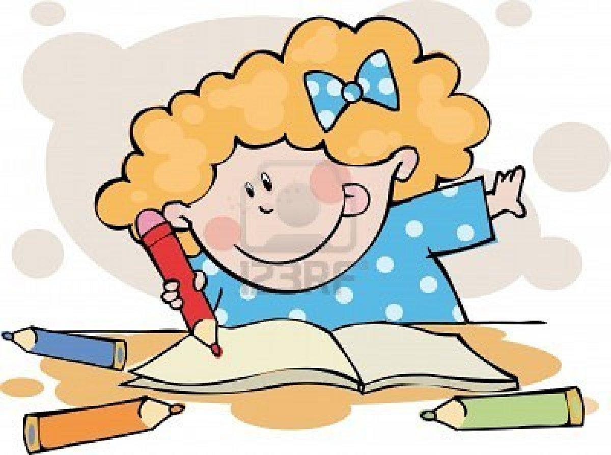 Clipart doing homework.