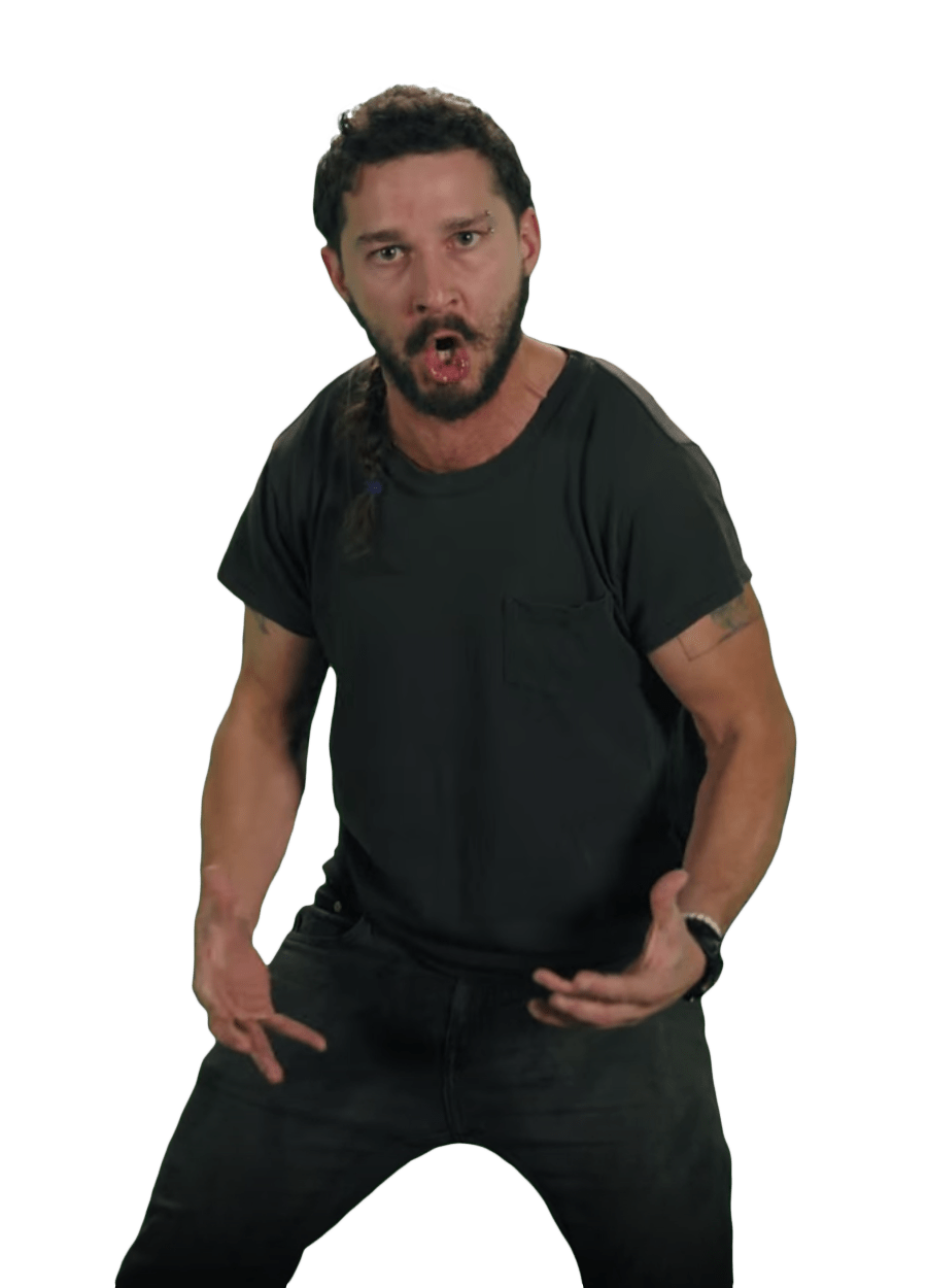 Just Do It Shia LaBeouf Pose transparent PNG.