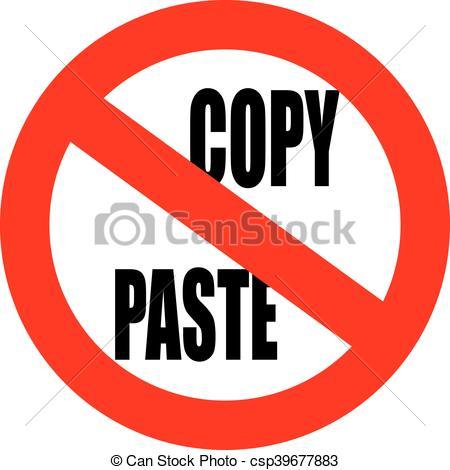 Vector of No copy paste sign.