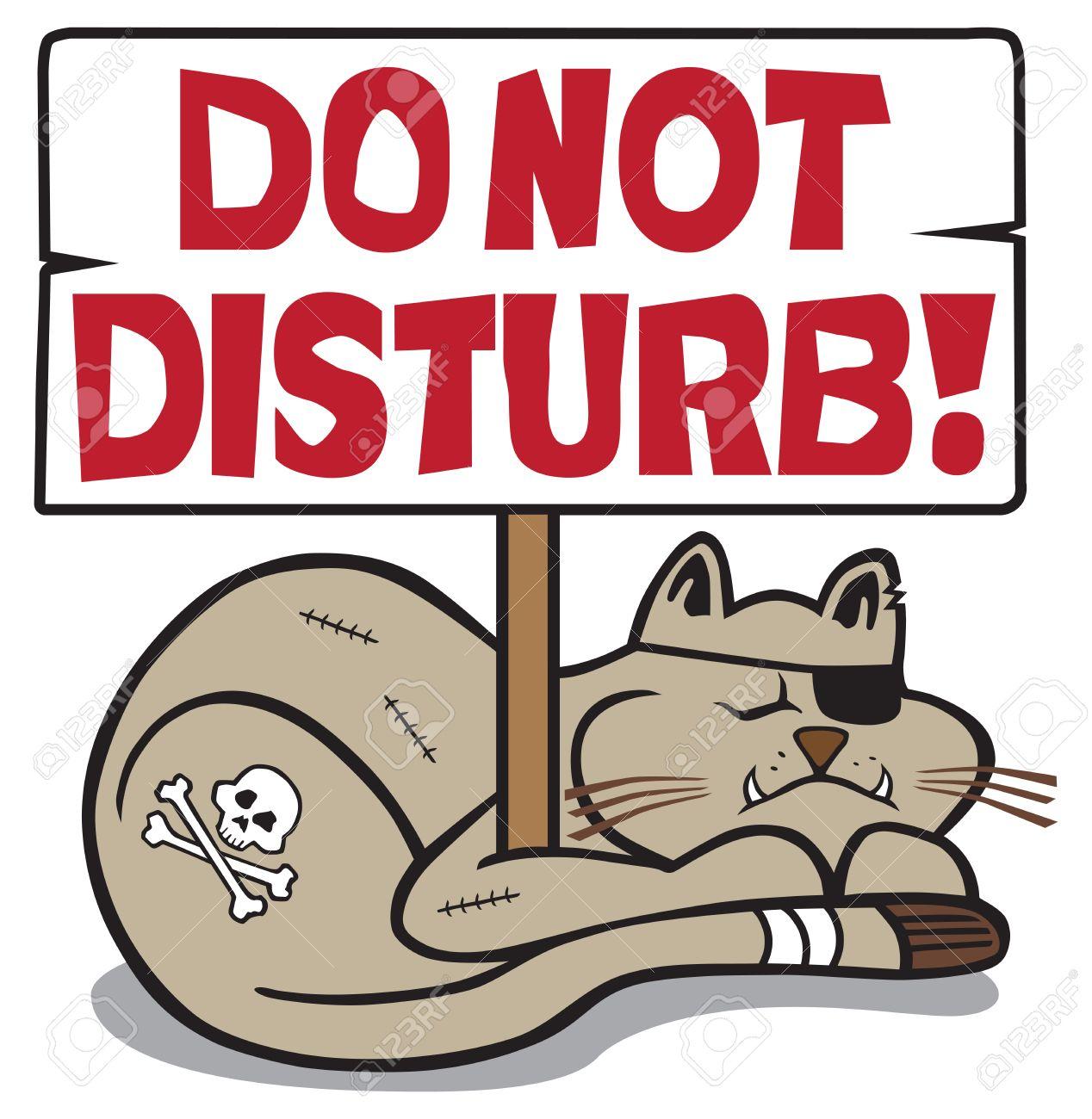 Tough, battered cat taking a nap under a do not disturb sign.