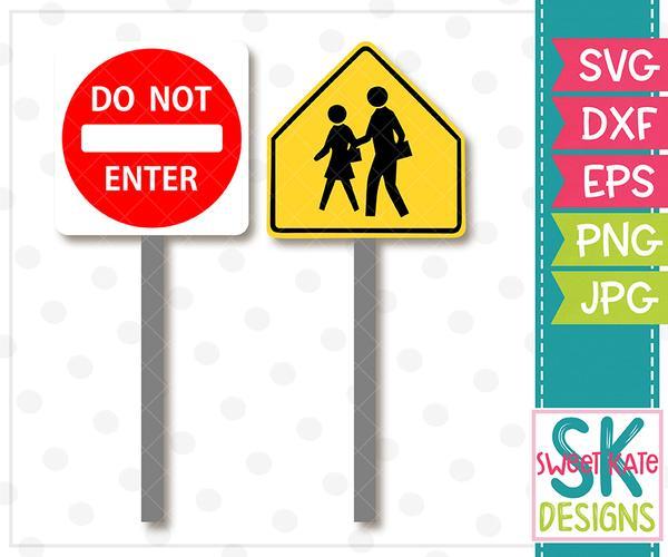 Do Not Enter & Pedestrian Road Signs SVG DXF EPS PNG JPG.
