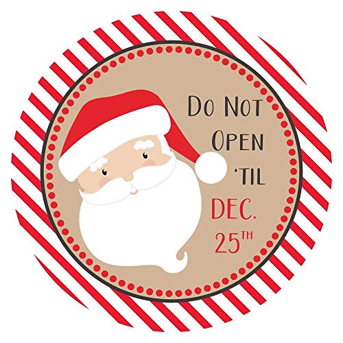 Santa Do Not Open Til December 25 Christmas Stickers for Holidays.