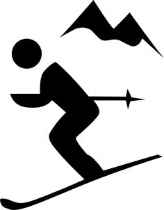 Funny Retro Skiing Clipart.