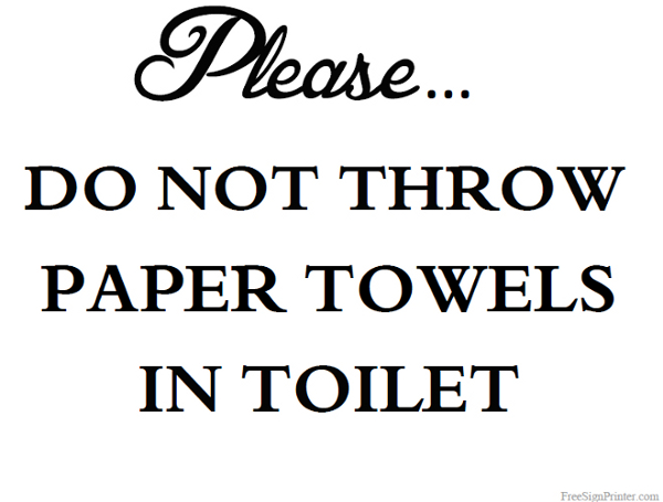 Do Not Through Paper Towel In Toilet Clipart.
