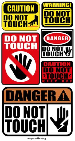 Vector Set Of DO NOT TOUCH Signs.