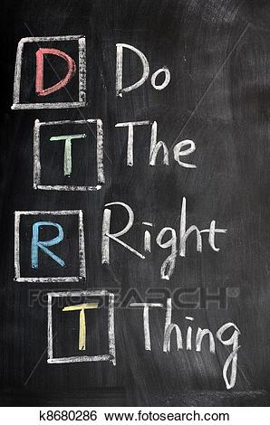 Acronym of DTRT for Do the Right Thing Stock Photograph.