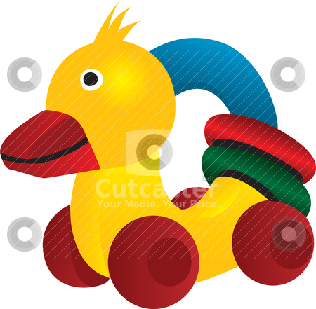 Rubber duck with wheels and colored circle stock vector.