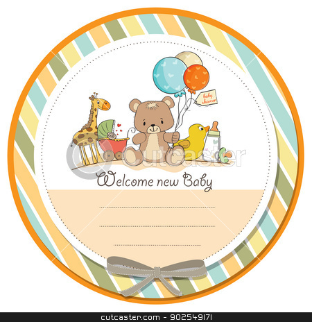 baby shower card with toys stock vector.
