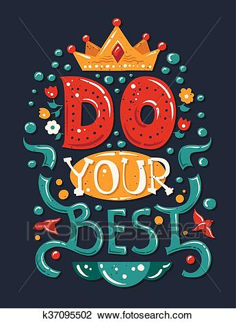 Lettering phrase Do Your Best Clipart.