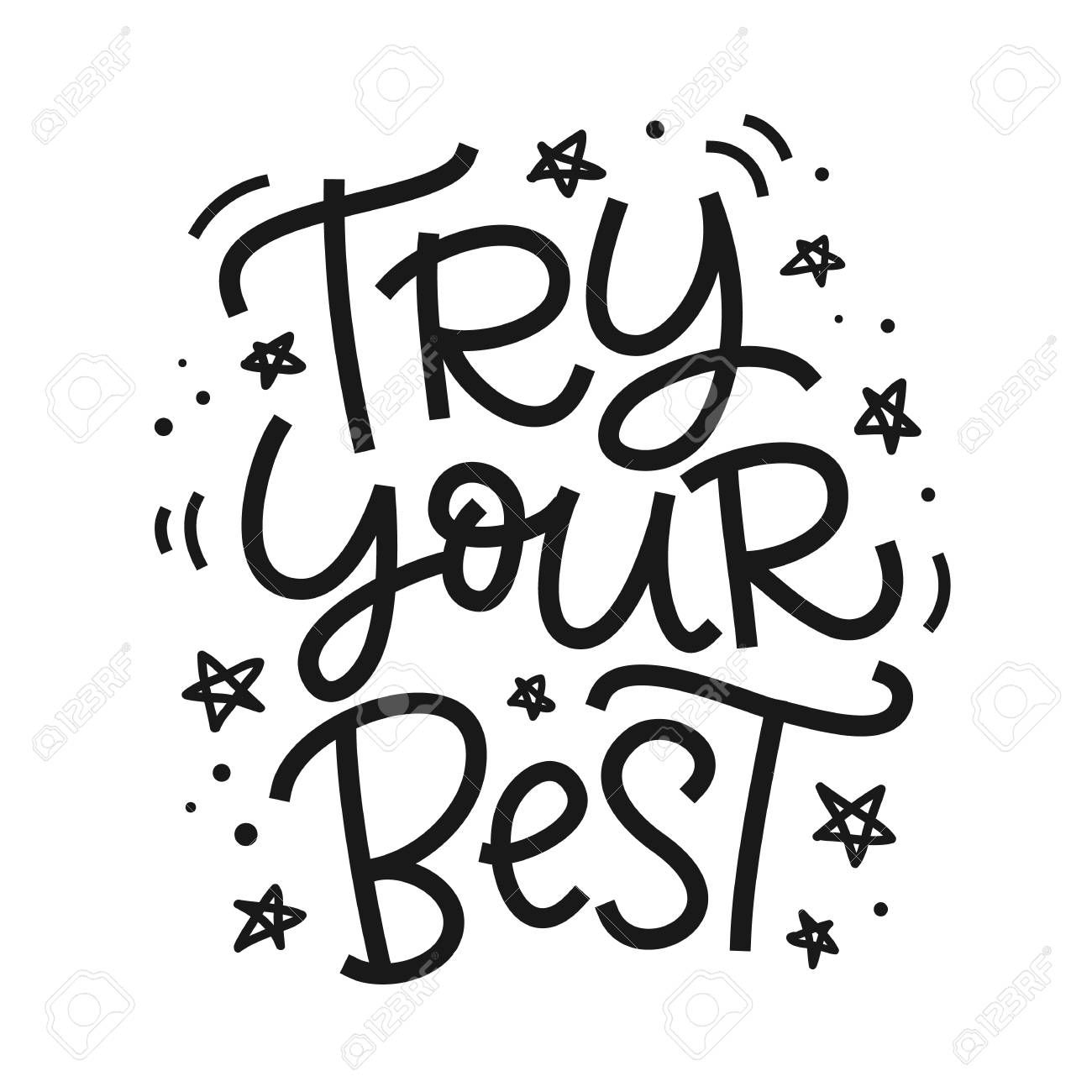 Try Your Best freehand poster. Hand lettering motivational phrase.