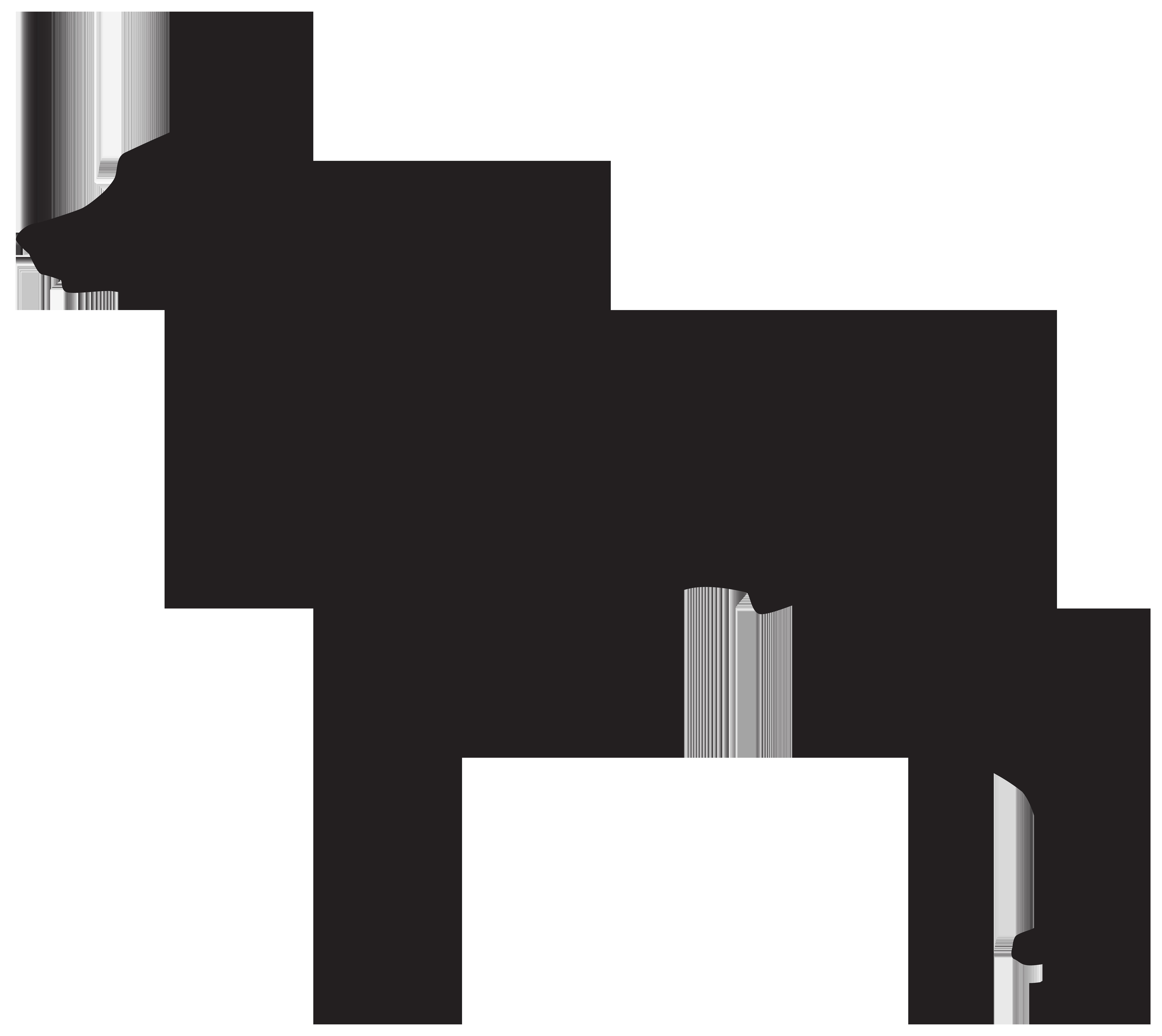 Doberman Dog Silhouette PNG Transparent Clip Art Image.
