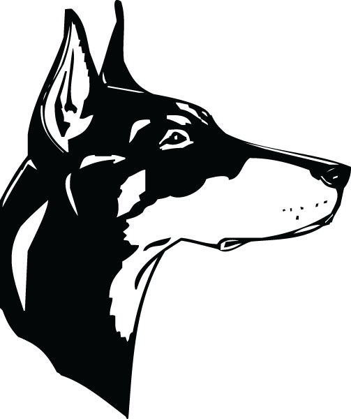 Doberman Head Dog Breed Pet Lover Clip Art For Custom Gifts.