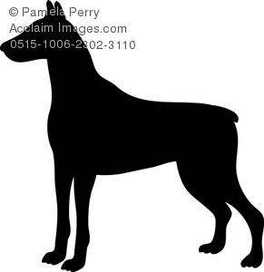 Clip Art Image of a Silhouette of a Doberman Pinscher.
