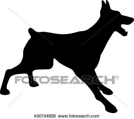 Silhouette of a dog. Vector illustration of doberman pinscher. Clip Art.