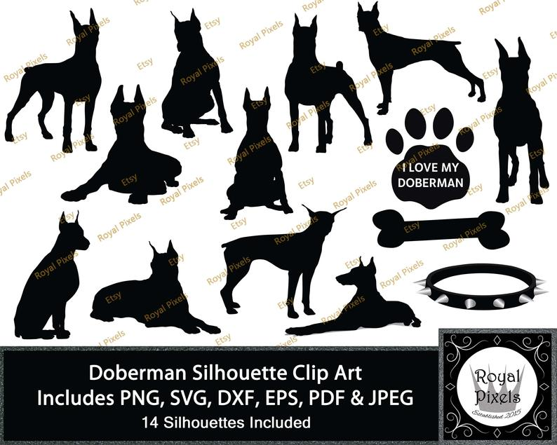 Doberman Silhouette Clip Art Set, 14 Piece, Dog Silhouette, 7 inches,  Instant Download, Printable, SVG PNG pdf eps dxf & JPEG #56.