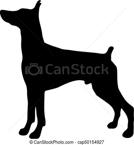 Silhouette of a dog.Vector illustration of doberman pinscher..
