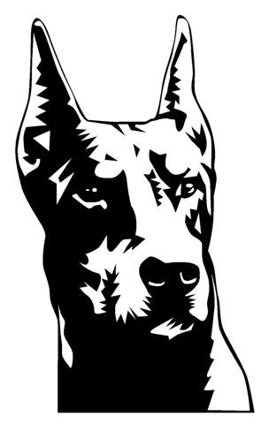 Doberman Head Decal Sticker.