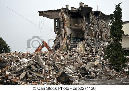 Stock Photography of Destroyed building, debris. Series.
