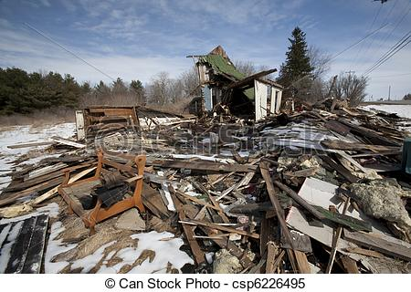 Stock Images of Burnt House with Debris.