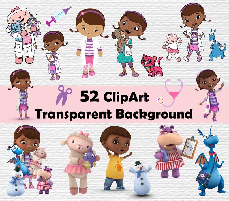 Doc McStuffins Clipart Disney Clip Art Doc McStuffins PNG Doc McStuffins  characters Clip art transparent background 300dpi.
