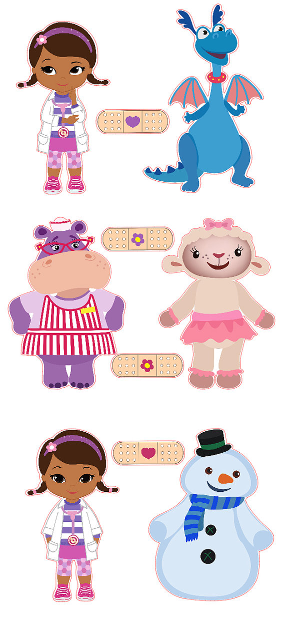 Doc Mcstuffins Characters Removable Wall Stickers 6 piece Set.