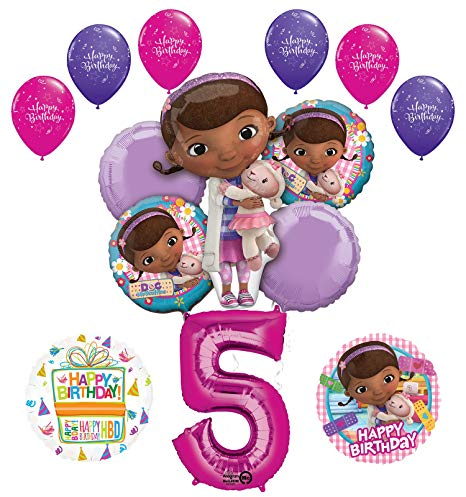 Doc McStuffins 5th Birthday Party Supplies and Balloon Bouquet Decorations.
