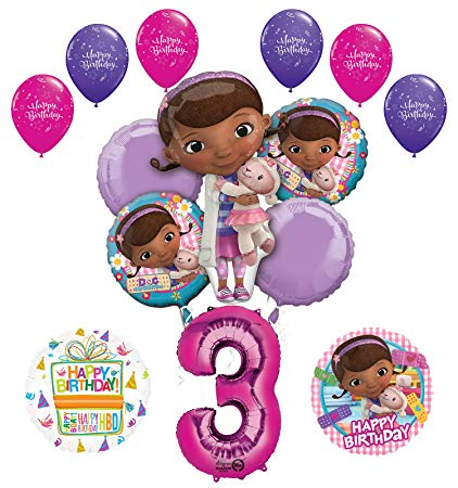 Doc McStuffins 3rd Birthday Party Supplies and Balloon Bouquet Decorations.