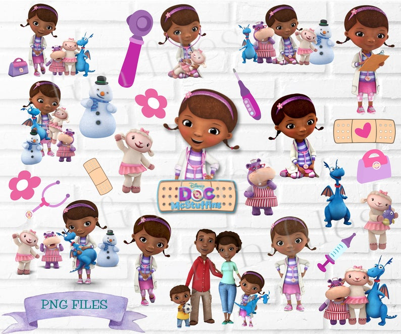 Doc McStuffins PNG Clipart files, transparent, bundle, disney. birthday,  invite, doctor, stuffie, lambie, hallie, stethoscope, little girl.