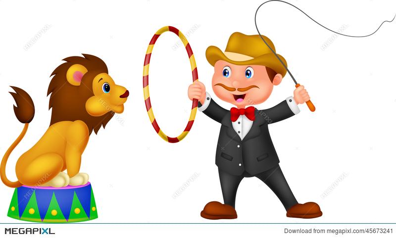 Lion Tamer With Lion Illustration 45673241.