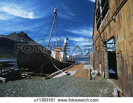 Stock Photography of Remains of old whaling station with deserted.
