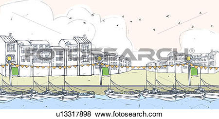 Stock Illustration of Nautical vessel anchored at dock by.