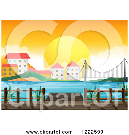 Cartoon of a Sunset Behind City Buildings a Bay Dock and Bridge.