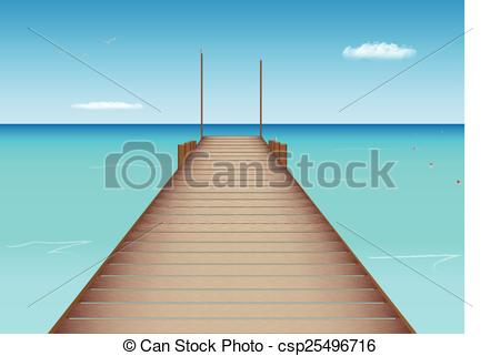 Vector Clip Art of Dock in Tropical Location.